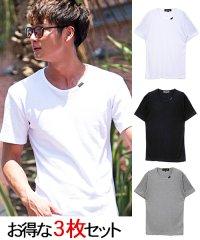 CavariA【キャバリア】3Pパックフライスクルーネック半袖Tシャツ