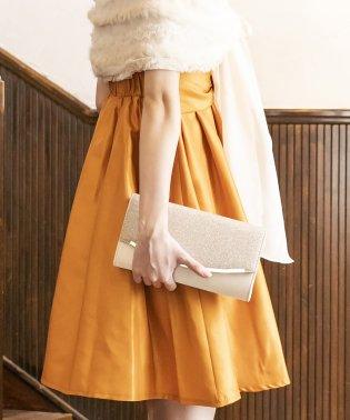 【結婚式・お呼ばれ】きらきら×サテン 異素材クラッチバッグ