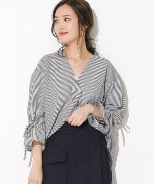 リボン袖スキッパーシャツ