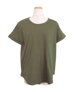ポケット付きラウンドカット半袖Tシャツ