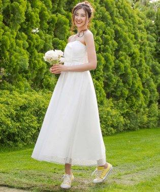 【結婚式・ウェディングドレス】kaene/ドットチュールレースフレアロングウェディングドレス