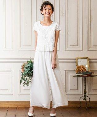 【結婚式・ウェディングドレス】troisiemechaco/フラワーレースブラウス×シフォンワイドパンツブライダルパンツドレス