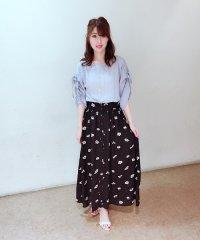 【セットアップ対応商品】花柄プリントロングフレアスカート
