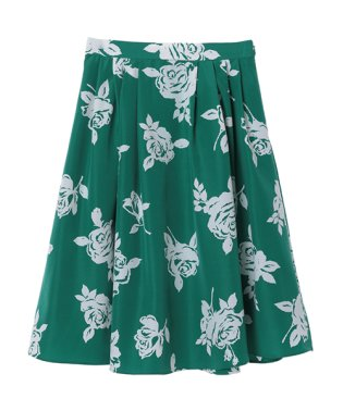 単色花柄プリントスカート