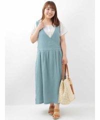 【大きいサイズ】【SOSOコラボ】コットンジャンバースカート
