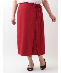 【大きいサイズ】ミディ丈ラップスカート