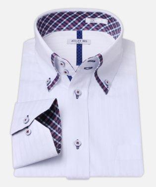 白ドビー柄 デザインワイシャツ【ギンガムチェック】