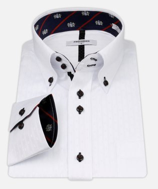 白ドビー柄 デザインワイシャツ【クレストネイビー】