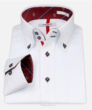 白ドビー柄 デザインワイシャツ【クレストレッド】