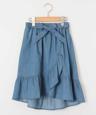 [140-150]サッシュリボン付フリルラップ風スカート