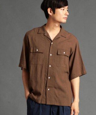 リネン混オープンカラーシャツ