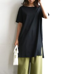 【and it_】大人シンプルサイドスリットワンピース【M】(半袖tシャツ ロングTシャツ チュニック レディース ロングTシャツ 半袖 ワンピース トップス