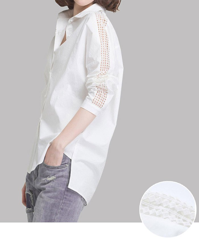 (miniministore/ミニミニストア)襟付き 前開きシャツ レディース ブラウス 7分袖 レース切り替え トップス 春秋/レディース ホワイト