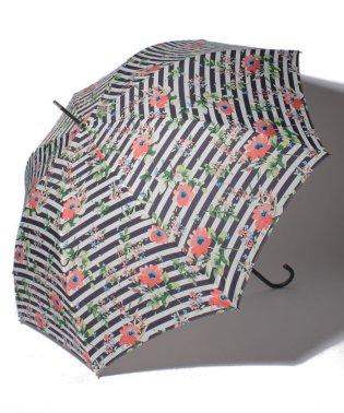 フラワーボーダー柄長傘 雨傘
