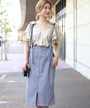 【WEB限定】ギンガムチェック&サスペンダー付スカート