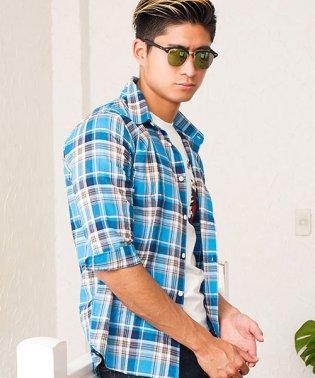 VICCI【ビッチ】綿麻ワッフルレギュラーカラー七分袖シャツ