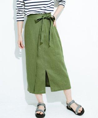 縦ラインですっきり見える 麻100%のタイトスカート