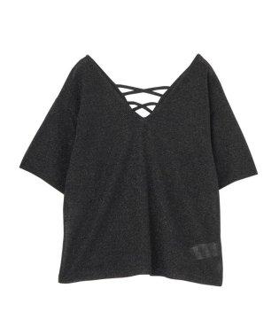 VネックラメTシャツ
