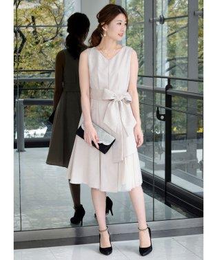 ジャガード裾サイドレースドレス