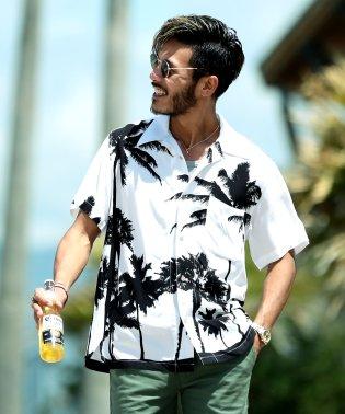 レーヨン アロハシャツ / アロハ シャツ メンズ 半袖 柄シャツ 開襟 オープンカラー