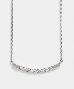 K10 ダイヤモンド9石 カーブ横型ネックレス(WG)
