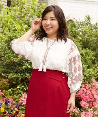 【大きいサイズ】エスニック刺繍スモックブラウス