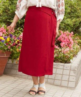 【大きいサイズ】ウエストマーク付!麻見えラップスカート