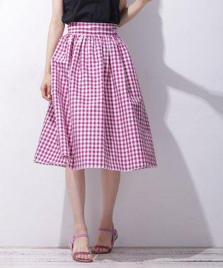 【セットアップ対応商品】リボンギンガムギャザースカート