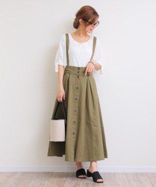【L-6】フレアスカート ジャンパースカート ワンピース ロング丈 ツイル素材