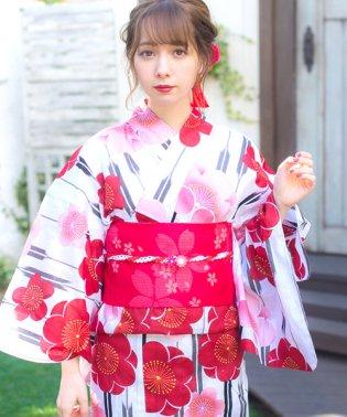 Dita【ディータ】1人で簡単に着られる作り帯の可愛い女性浴衣 4点フルセット(ゆかた・作り帯・下駄・着付けカタログ)