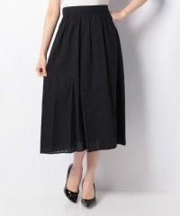 【セットアップ対応商品】綿ストライプ刺繍ミディスカート