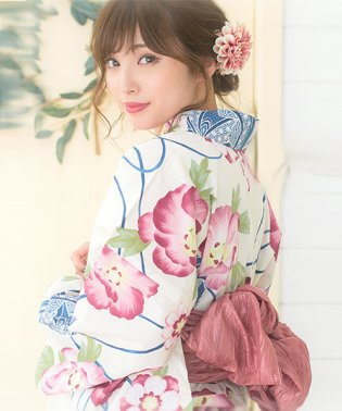 Dita【ディータ】1人で簡単に着られる作り帯の可愛い女性浴衣 4点フルセット(ゆかた・作り帯・下駄・着付けカタログ) 京の毬と恋牡丹