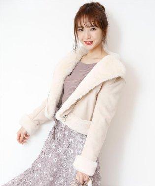 【美人百花11月号掲載】フェイクファーライダースジャケット