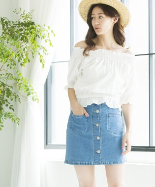 WEGO/ボタンアップタイトミニスカート