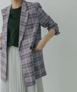 【KBF+】リネンmixチェックジャケット