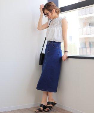 【G-5】ストレッチデニム タイトスカート ひざ丈