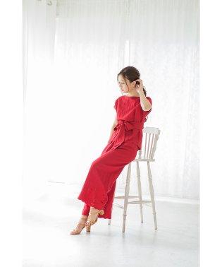 リネン混裾刺繍ワイドパンツ