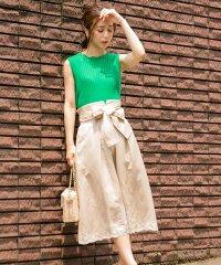 リネン混裾刺繍スカート