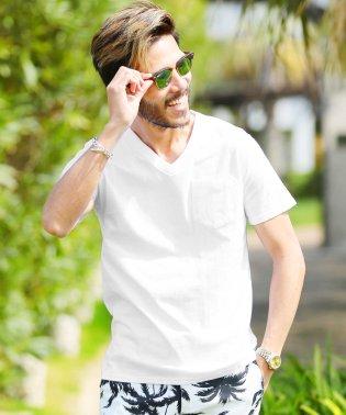 Vネックポケット付き消臭機能半袖Tシャツ / 無地 Tシャツ メンズ ポケットtシャツ 綿100% 胸ポケット