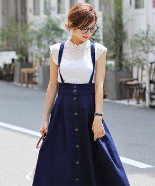 【D-3】ストレッチデニム サロペット フレア ジャンパースカート