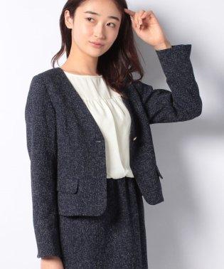 【セットアップ対応商品】:Vノーカラーツイードジャケット/F