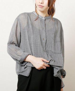 スタンドカラーシャツ 綿シルクローン東炊き加工