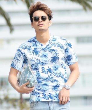 総柄プリントVネックTシャツ / Tシャツ 半袖 Vネック カットソー おしゃれ ティーシャツ トップス