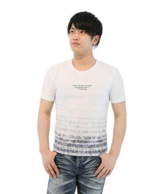梨地グラデーションボーダー+ロゴクルーネックTシャツ