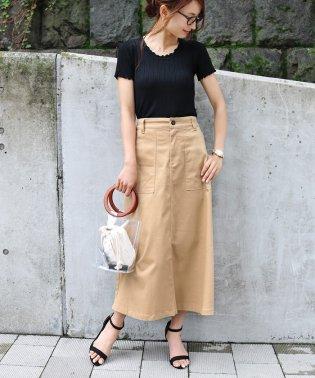 【H-10】チノツイル ベイカー フレアスカート ロングスカート
