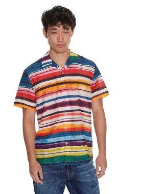 「Desigual/デシグアル」マルチカラーボーダー半袖シャツ