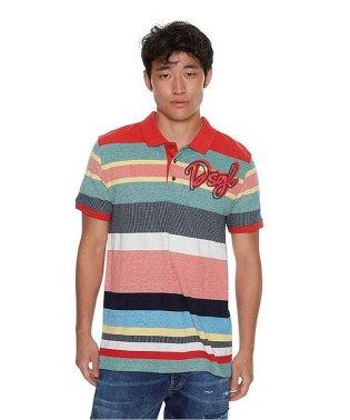 「Desigual/デシグアル」ボーダー柄半袖ポロシャツ