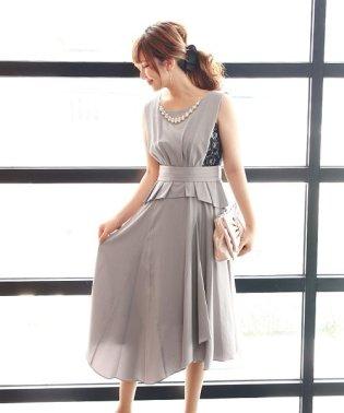 ≪結婚式 二次会 パーティー≫リボンベルト付きサイドレースペプラムドレス