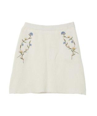 ナデシコ刺繍ニットスカート