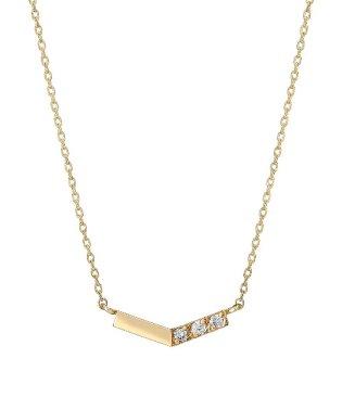 K10 ダイヤモンド 縦4石 ネックレス(YG)